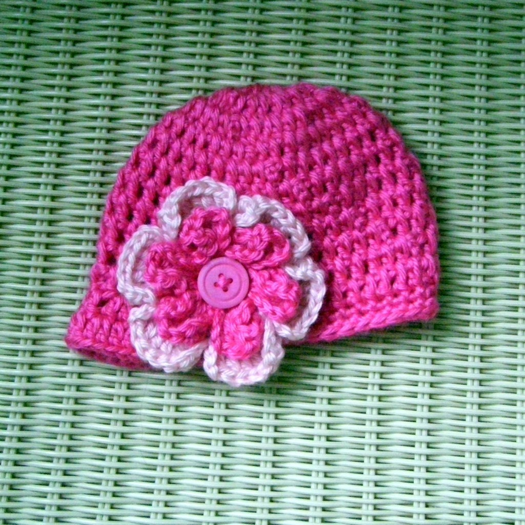 Newborn Crocheted Beanie Hat with Visor and Flower