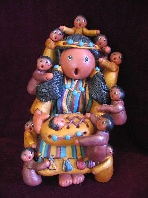 Storyteller doll figure, Southwest motif, polymer clay