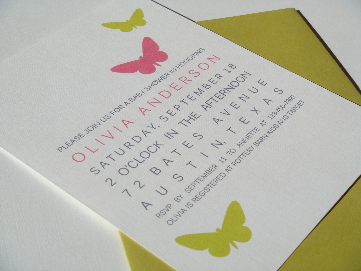 Butterfly Shower Invitations - Choose Your Colors