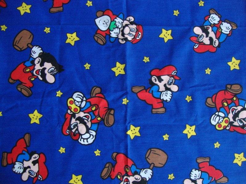Rare Vintage Super Mario Bros Fabric Nintendo By Cutebrightfun