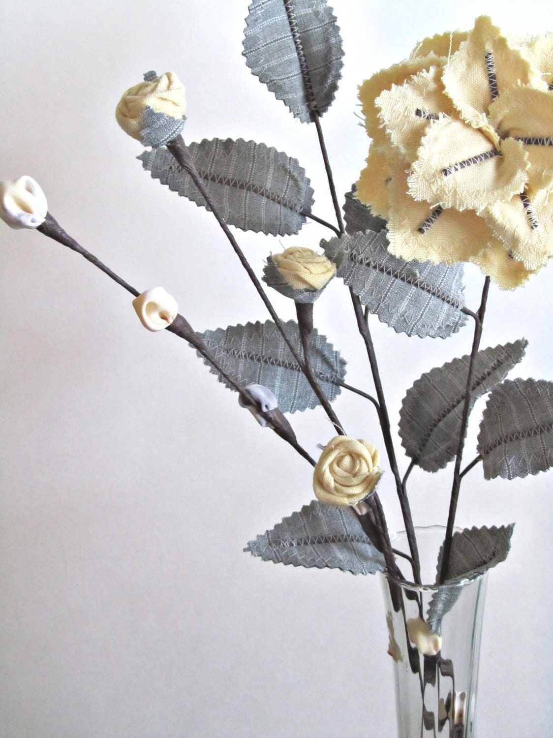 Fabric Leaves and Flowers Yellow Grey Pinstripe Linen Mother's Day Gift Idea - janejoss