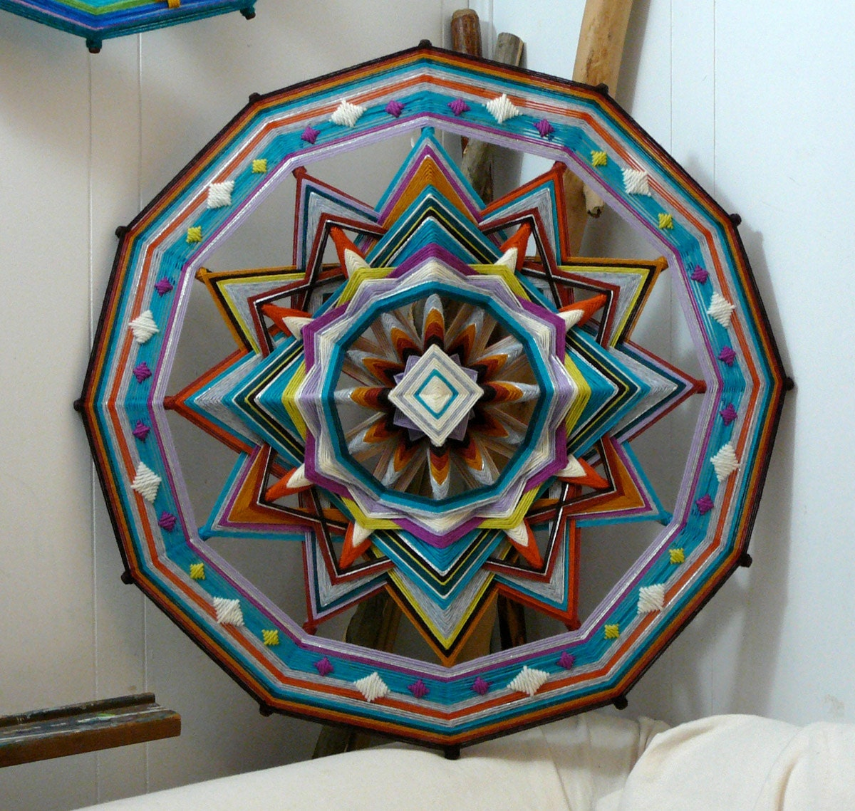 Diamond Sky, an all wool, 12-sided, 24 inch Ojo de Dios
