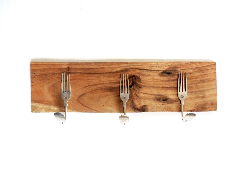 Wooden rustic fork Hooks  Tea Towel Hook New Home Gift Hook Storage Wedding Gift Cottage Decor Rustic Home Decor Upcycled Hooks