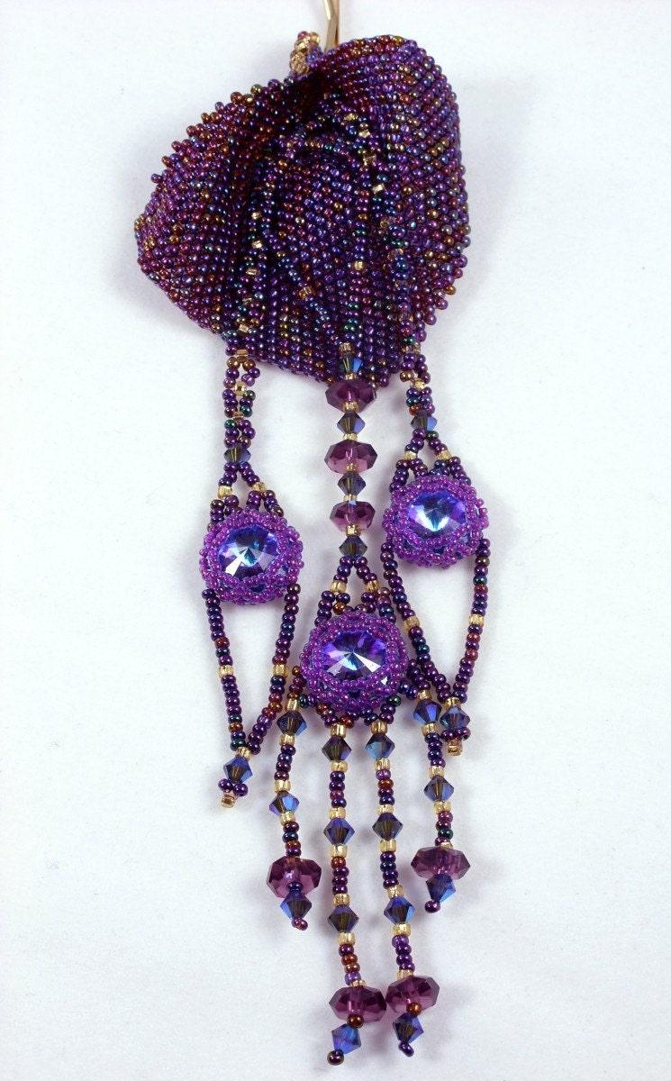 Bubbe Pin (TM) OOAK bead weaving hair decoration art