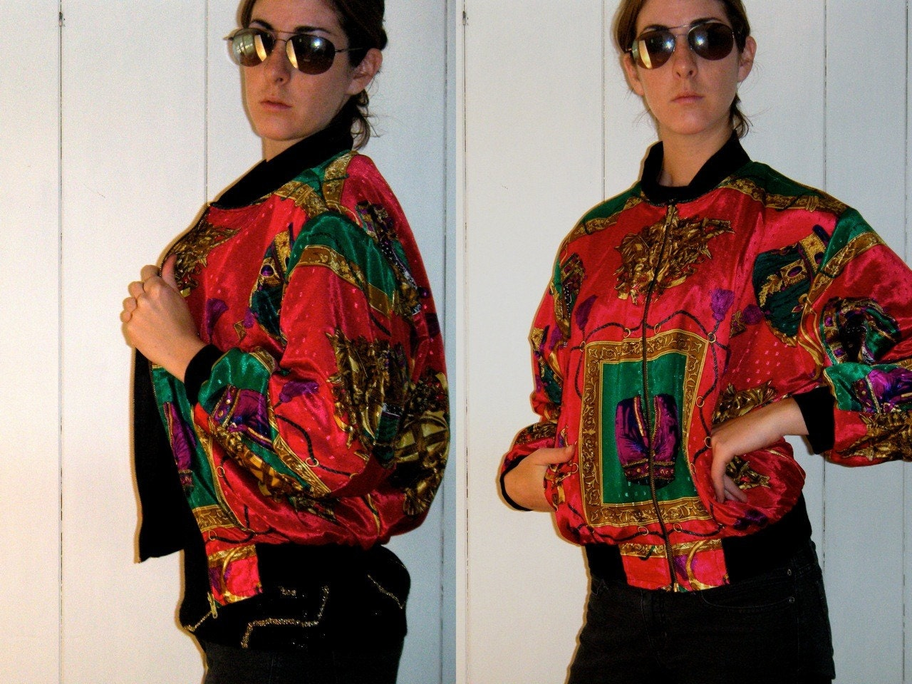 VTG 1980s Scarf Print Reversible Fuchsia Bomber Jacket by highwire from etsy.com