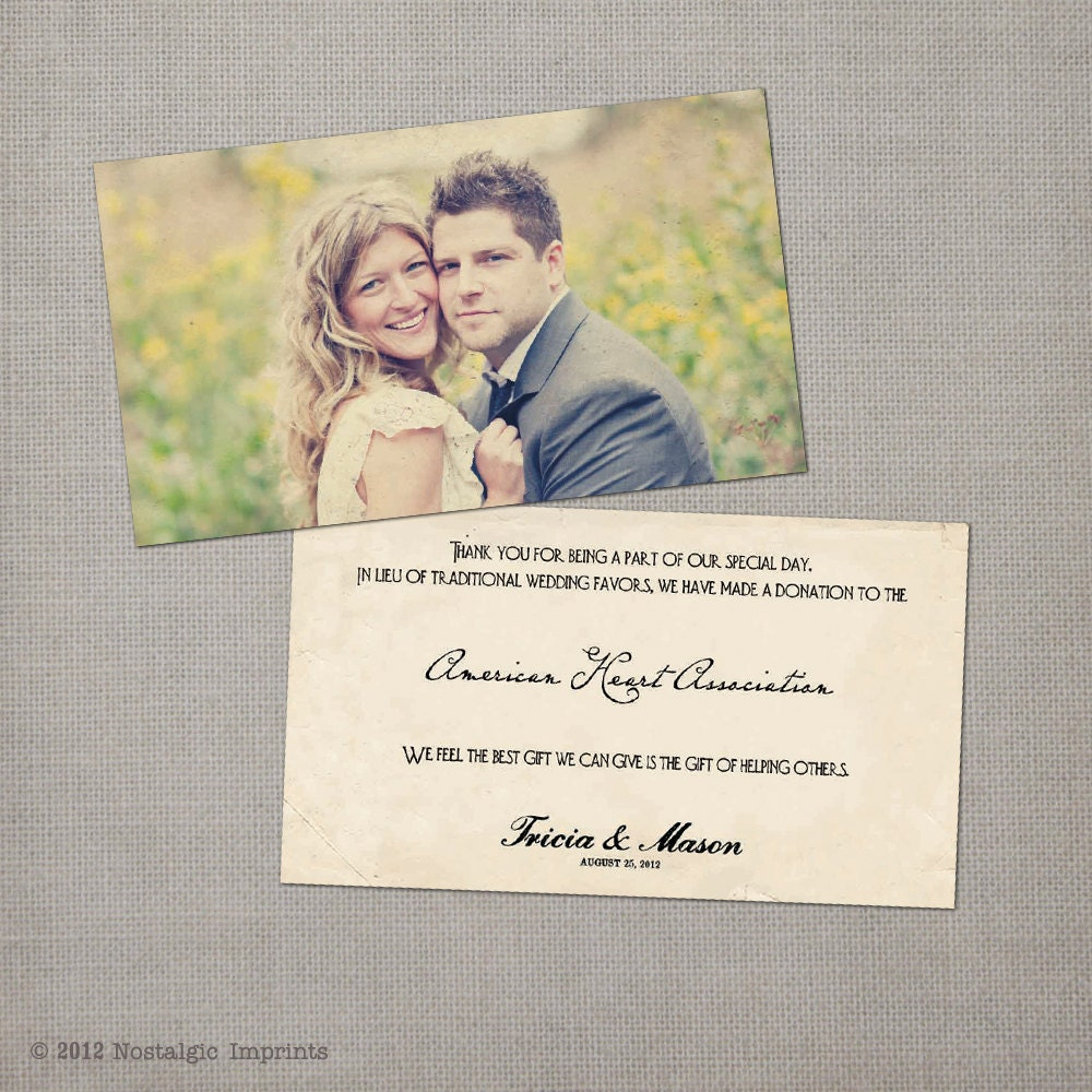 Wedding Gift Donation To Charity : 50 Wedding Favor Donation Cards Nostalgia by NostalgicImprints
