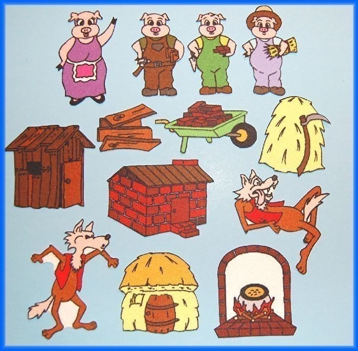 The three little pigs story board
