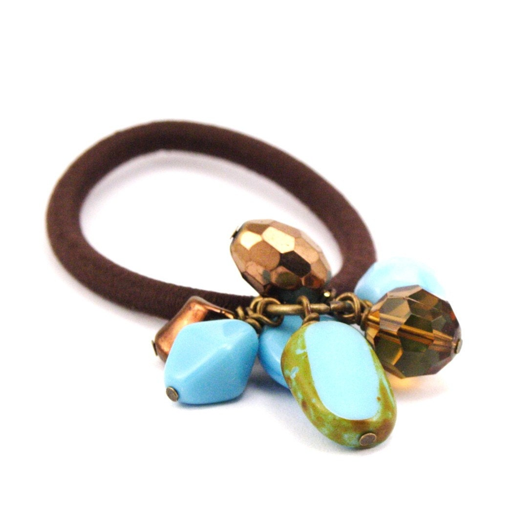 SUMMER SALE REDUCED 25% - Hair Elastic - Turquoise and Chocolate