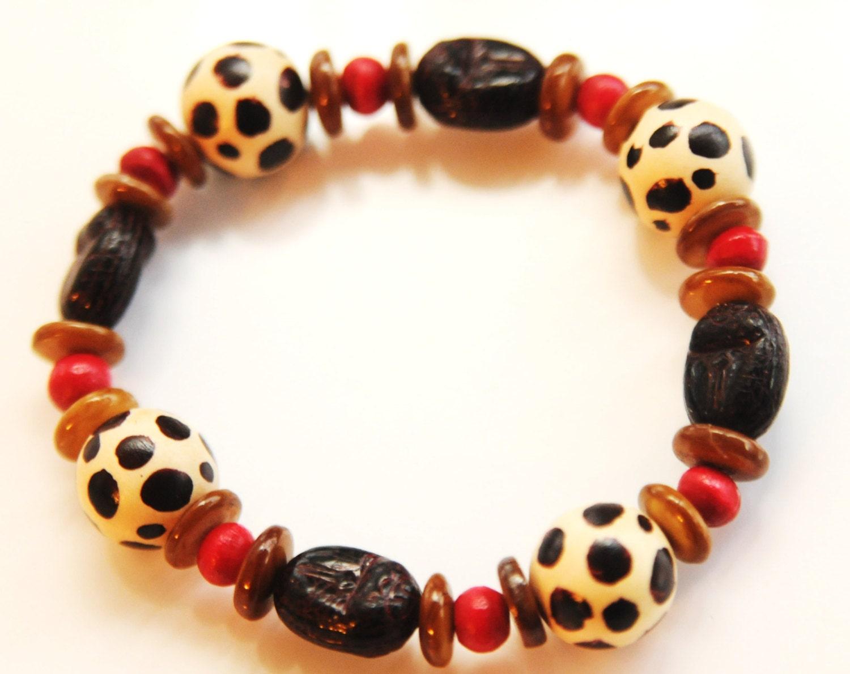 Giraffe Tribal Bracelet, African Tribal Bracelet, Beaded  Stretch Bracelet - ZenCustomJewelry