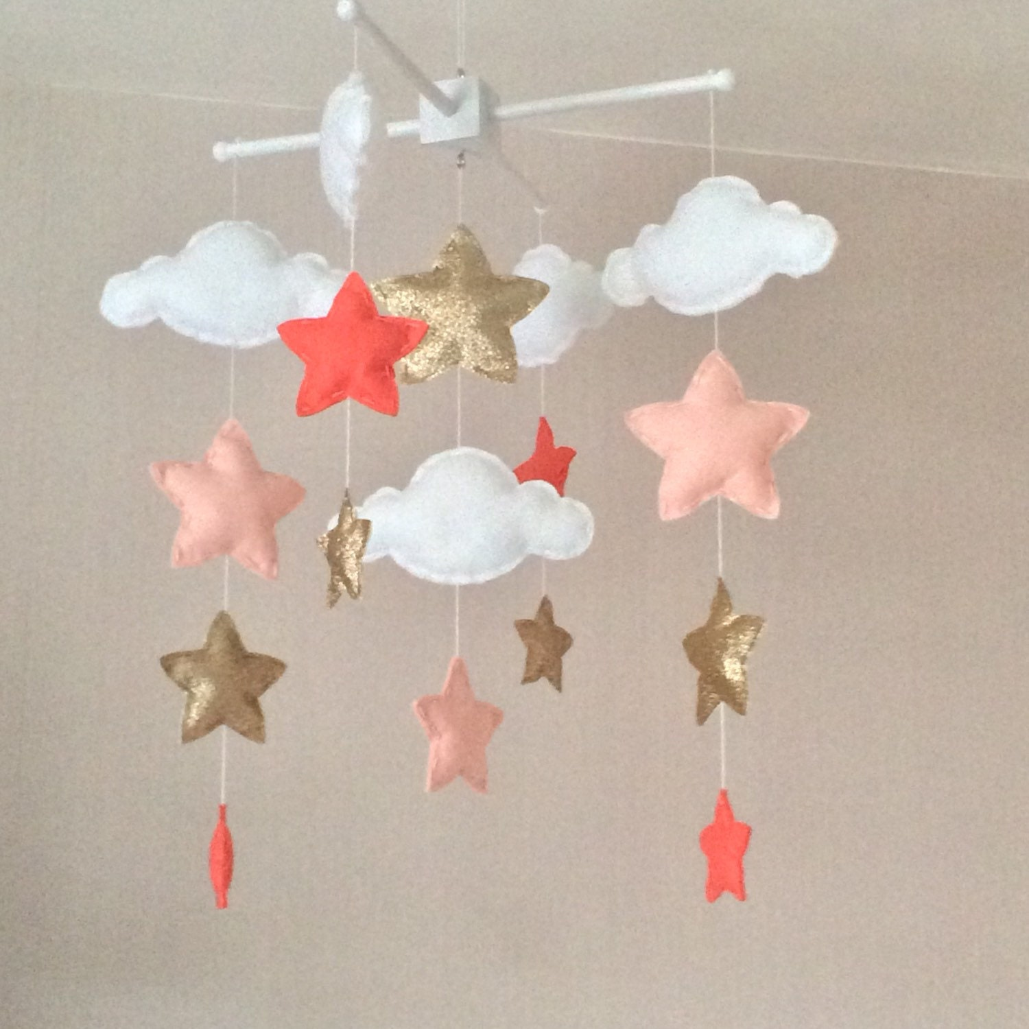 Baby mobile  Baby girl mobile  Cot mobile  Star mobile  Cloud Mobile  Nursery Decor  Clouds and stars  Gold and coral