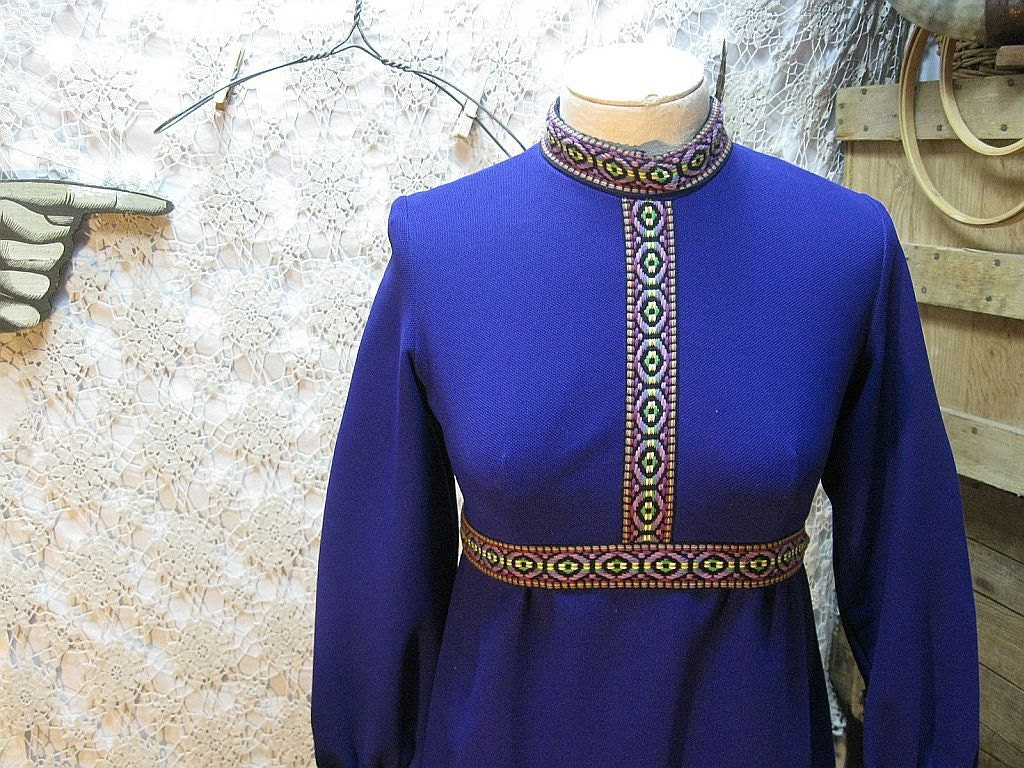Purple Mod mini dress vintage 60s empire