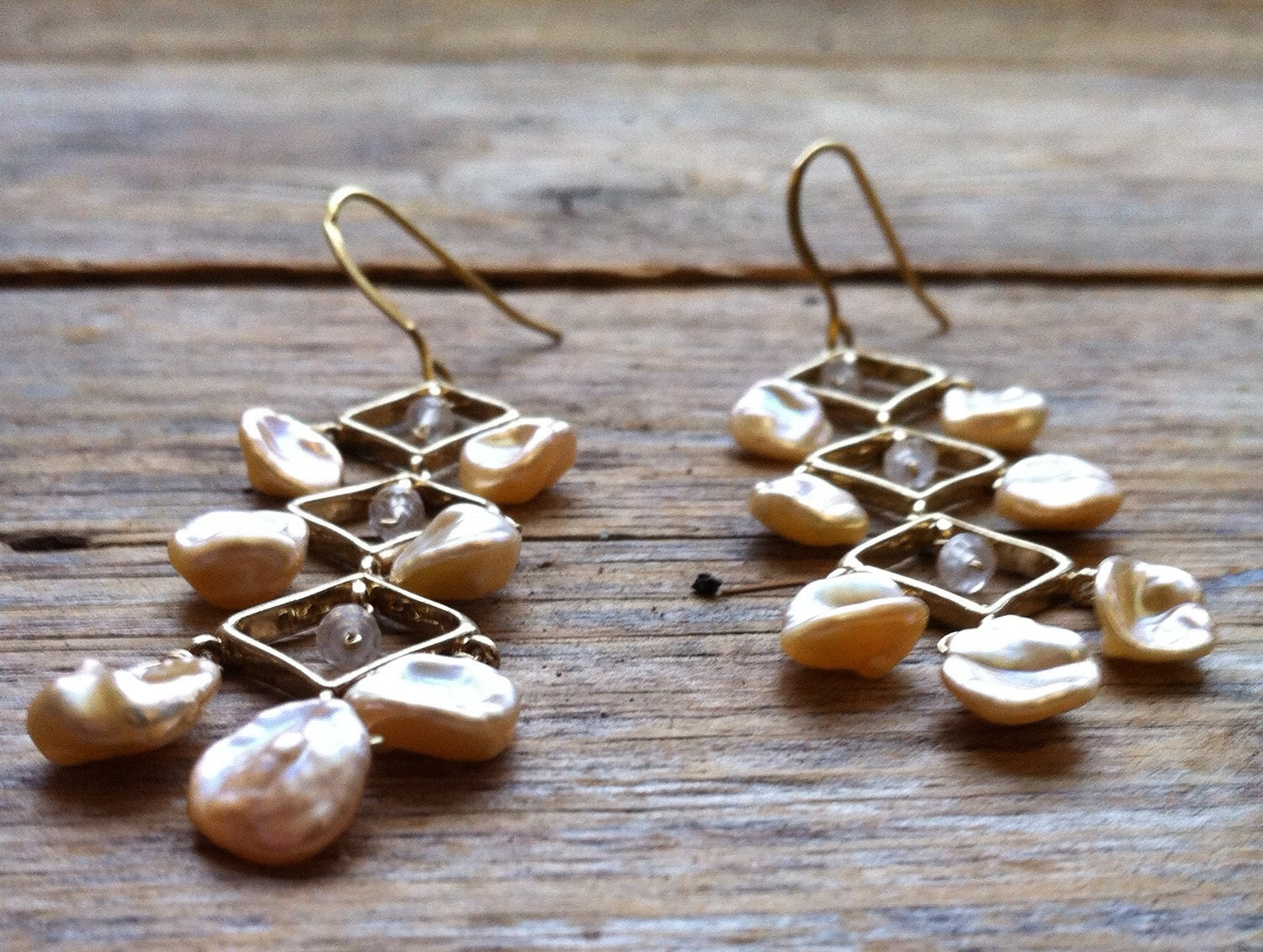 Vermeil Argyle earrings with Peach Keishi pearls and Rose Quartz