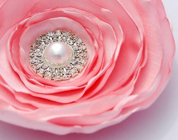 SOPHIE - Sweet Baby Pink, Pearl, Rhinestone Flower Clip