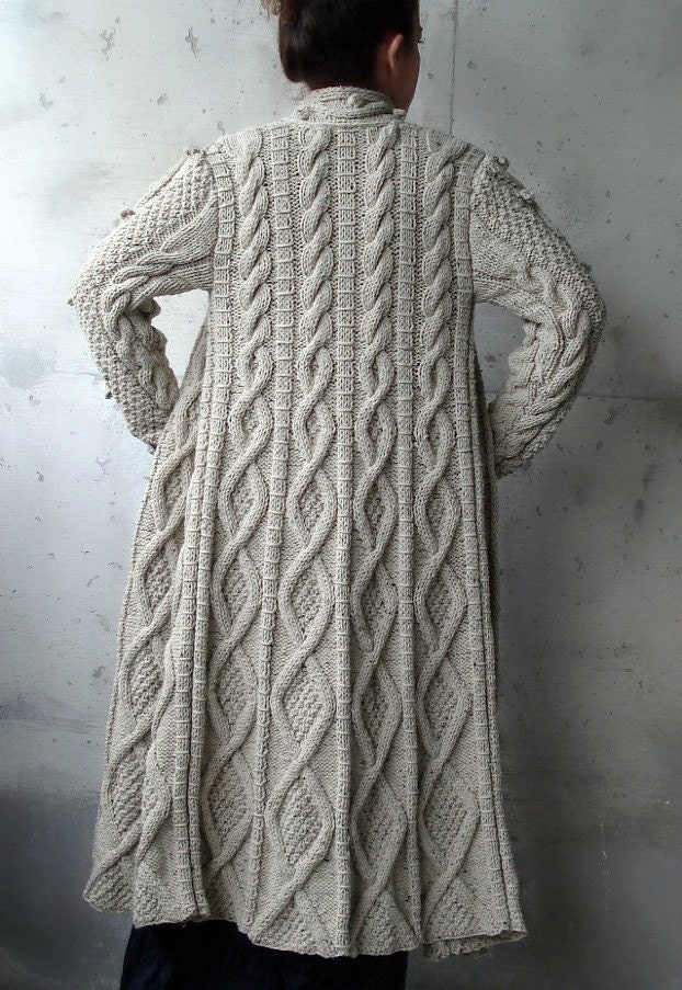 Knitting Patterns For Winter Jackets : Beige Cable Long Knitted Coat Cardigan by Uniquebethea on Etsy