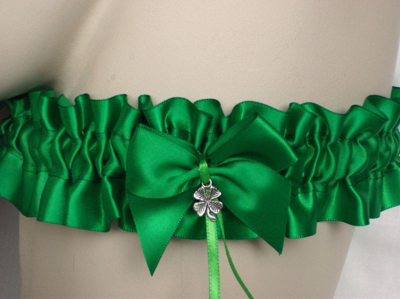 Emerald  Apple  Satin  Green Garter  Shamrock  Lucky Clover  Irish  Wedding  Bride  Hen  Bachelorette  Prom  Lingerie