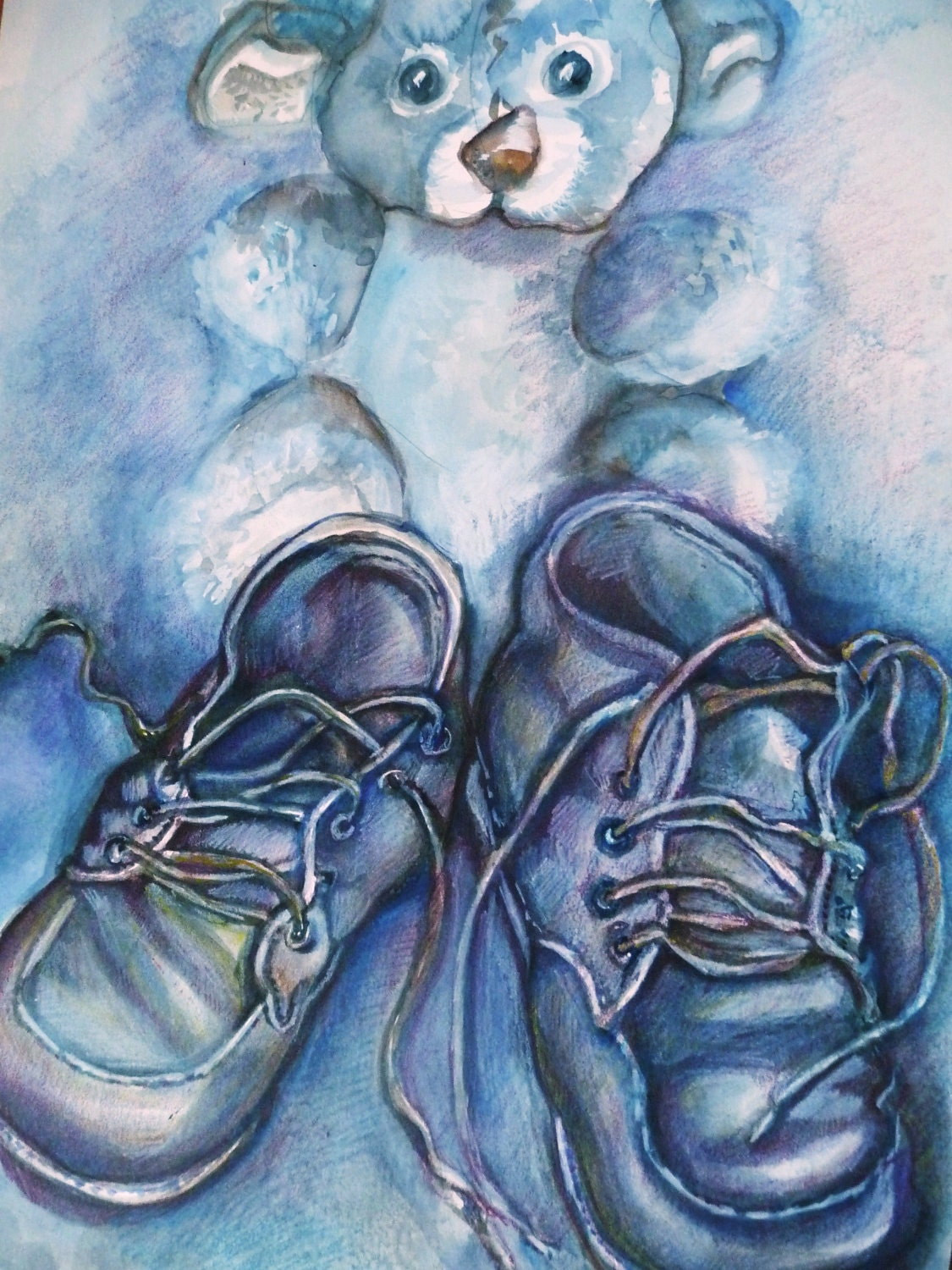 Original Water Color, Nursery Painting Baby Boy, Blue Baby Shoes Watercolor
