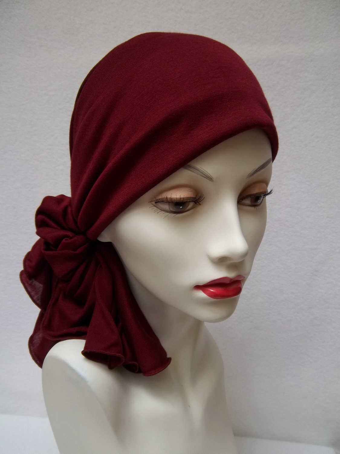 Head Scarf Chemo Wine Colored Soft Tencel Head Covering Chemo Scarf Head Scarves For Bald Women