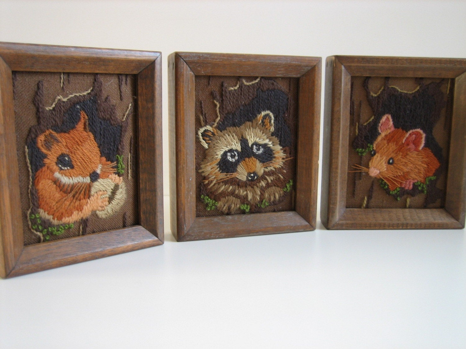 Set of 3 Small Framed Crewel Work of Mouse, Racoon, and Squirrel