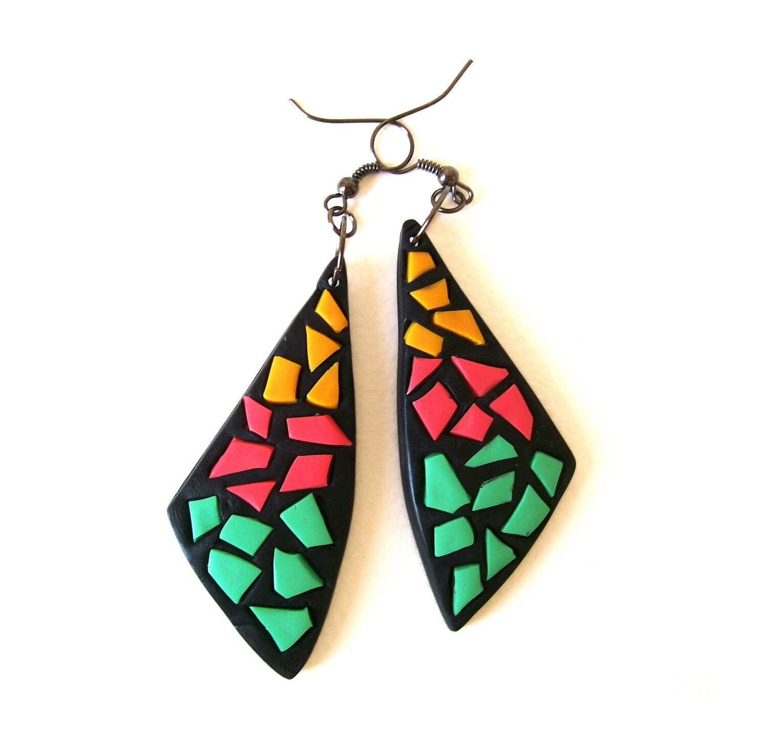 "Colorful mosaic dangle earrings Neon Spring collection bold&quirky polymer clay earrings ""The Moth Sail""  EuropeanStreetTeam, BeadsTeam - HunkiiDorii"