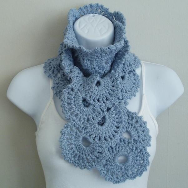 Soft Blue Lacy Crochet Scarf