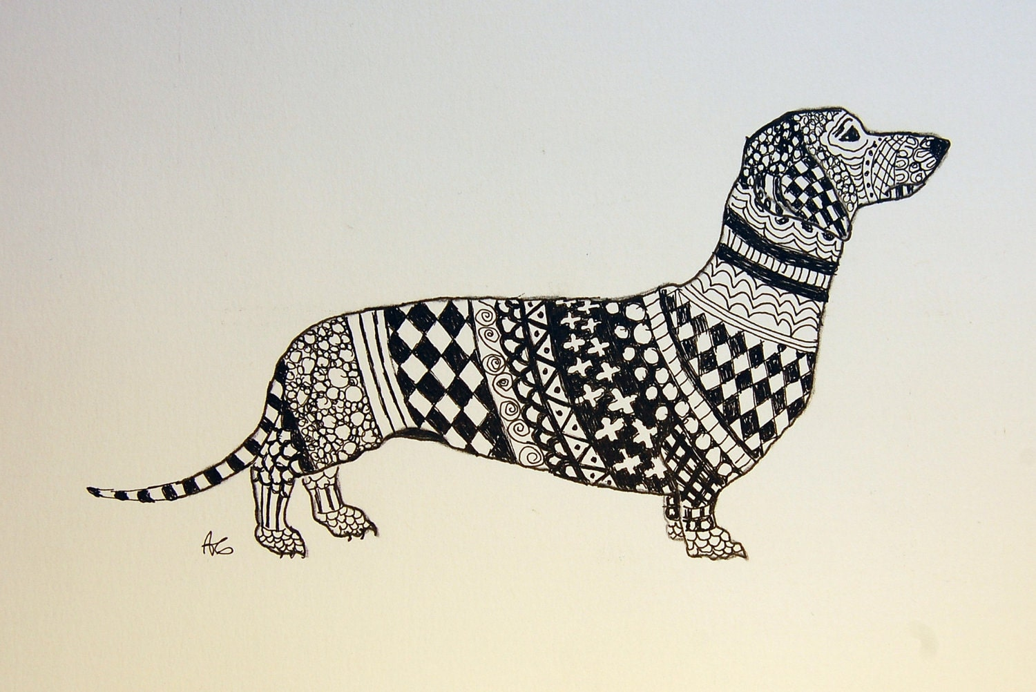 Dachshund Zentangle Original Pen And Ink Drawing With By
