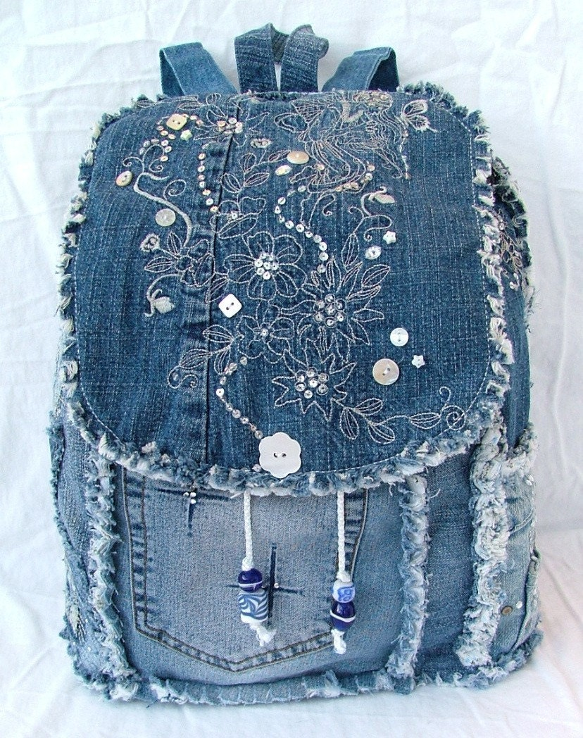 Etsy :: poppypatchwork :: DENIM BACKPACK from etsy.com