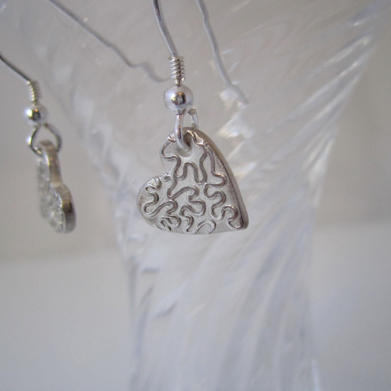Heart Drop Earrings with Wiggle Design  Handmade in Fine Silver Small Silver Heart Dangle Earrings Fine Silver Heart Earrings