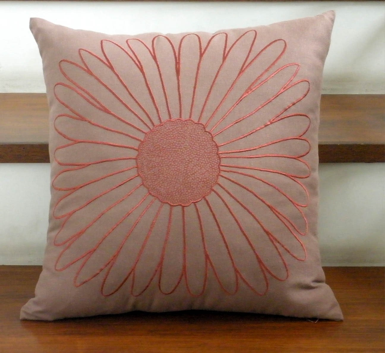 Rossie Brown Linen with Teracotta Sunflower Embroidery Pillow Cover