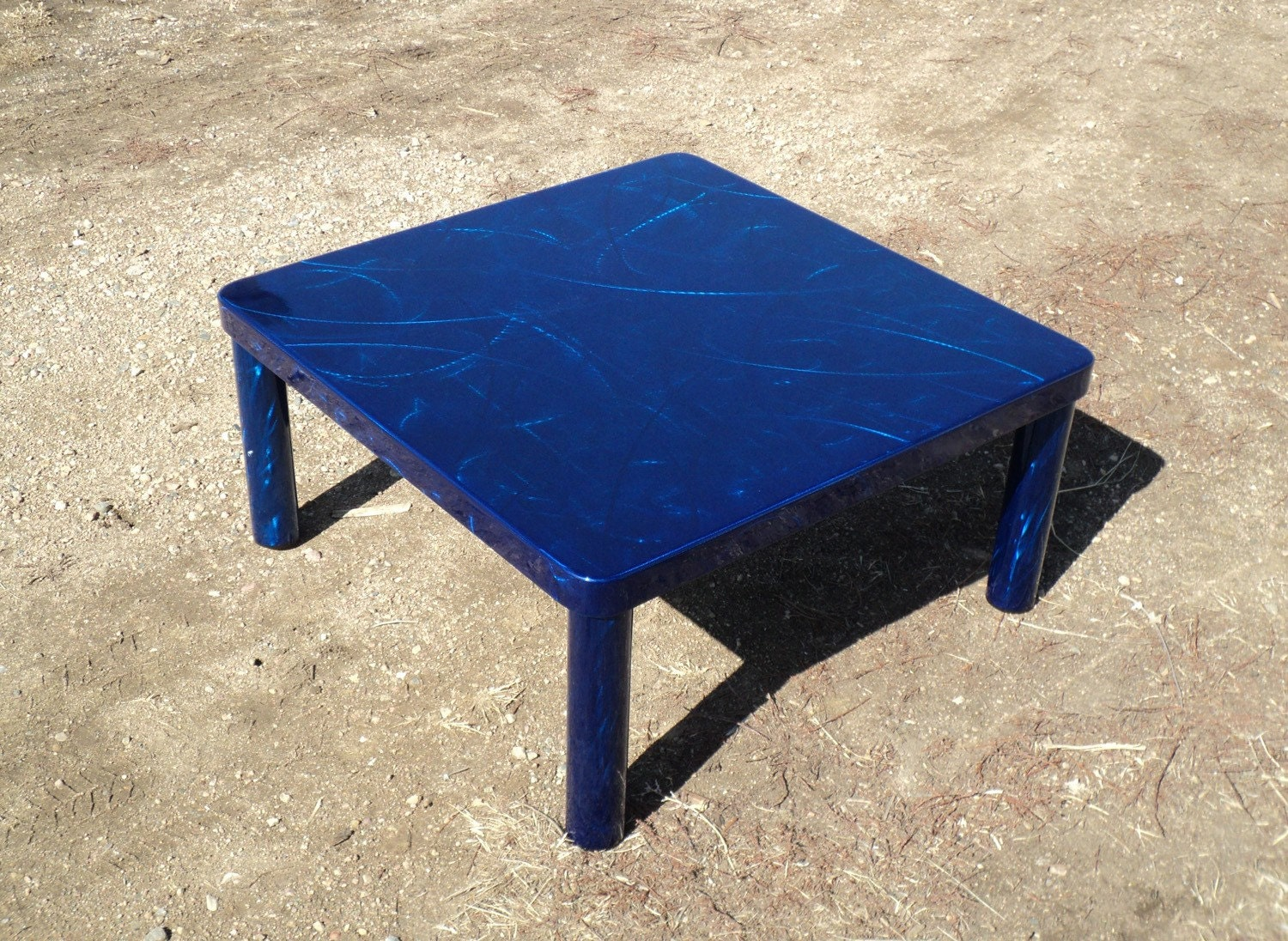 Handmade Contemporary Modern Square Lively Bold Deep Blue Steel Coffee Cocktail Table