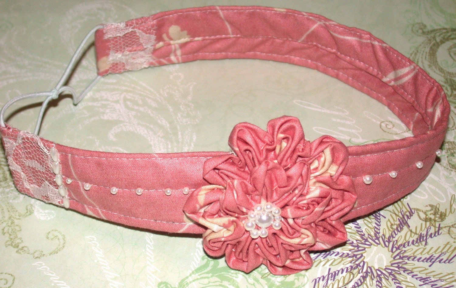 Rendezvous Peach Beaded Headband Vintage Fabric FREE Shipping