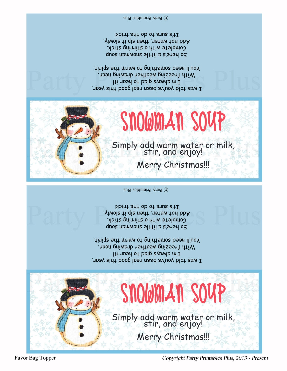 Items similar to Snowman Soup Treat or Favor Bag Toppers for Christmas ...