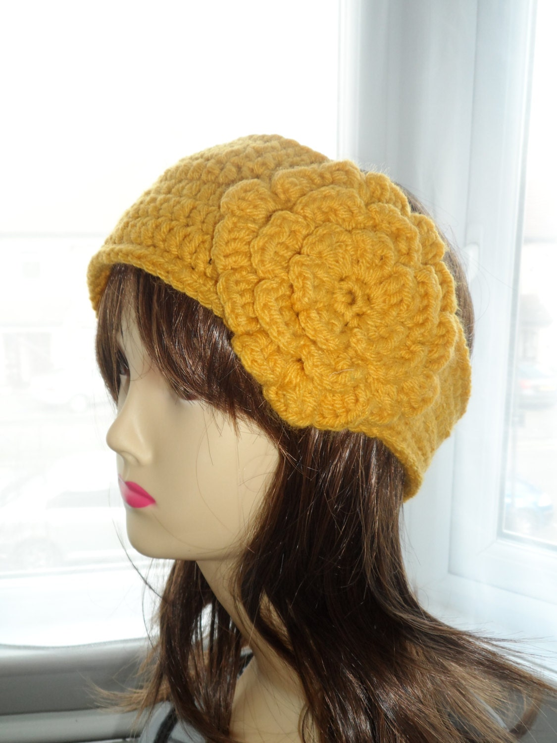 PATTERN Crochet Headband with flower and button strap by ...