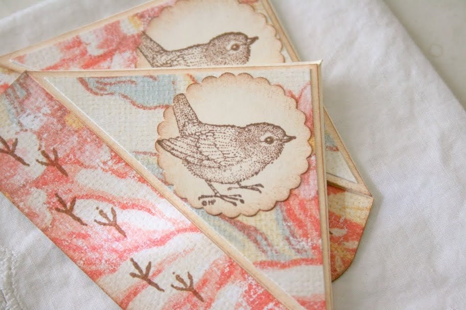 Handmade Bookmarks - Corner Style Bird and Footprints - Set of 2