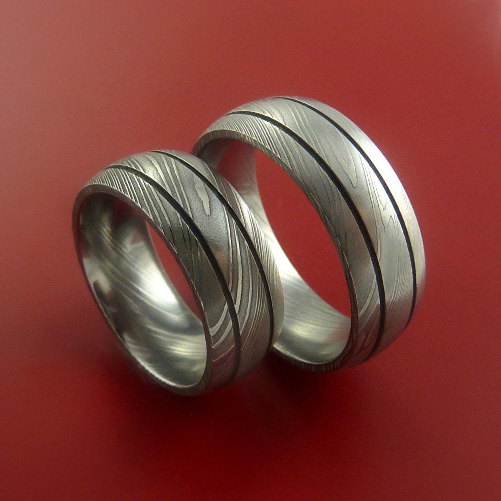 matching damascus steel ring set wedding by stonebrookjewelry