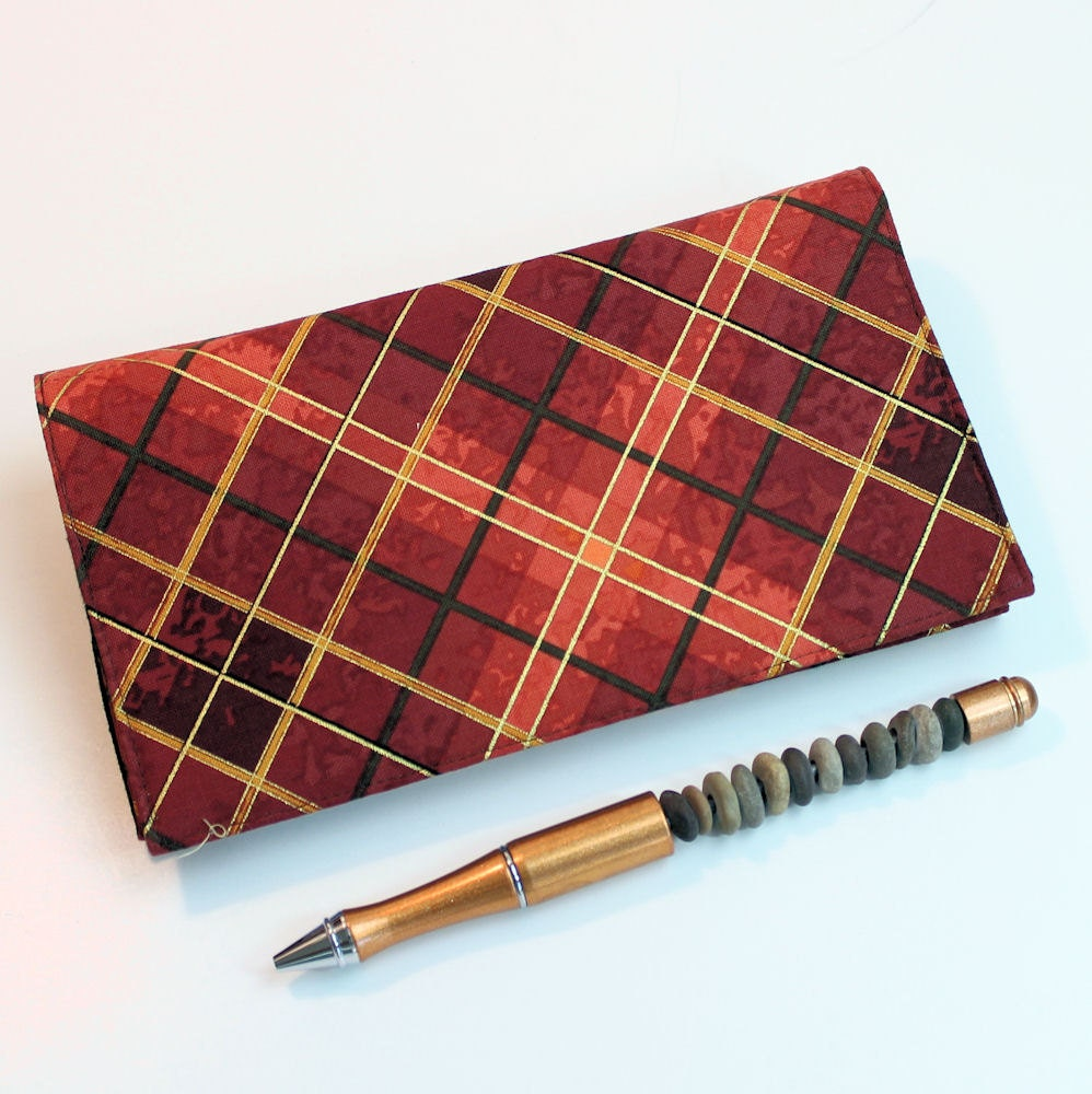 Checkbook Cover for Duplicates with Pen Holder Rust and Brown Plaid