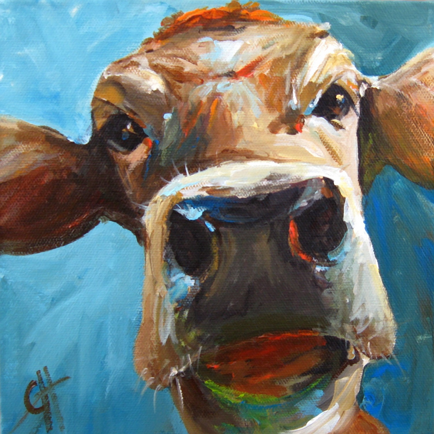 Elise the Cow - 7x7 Giclee Reproduction on stretched canvas