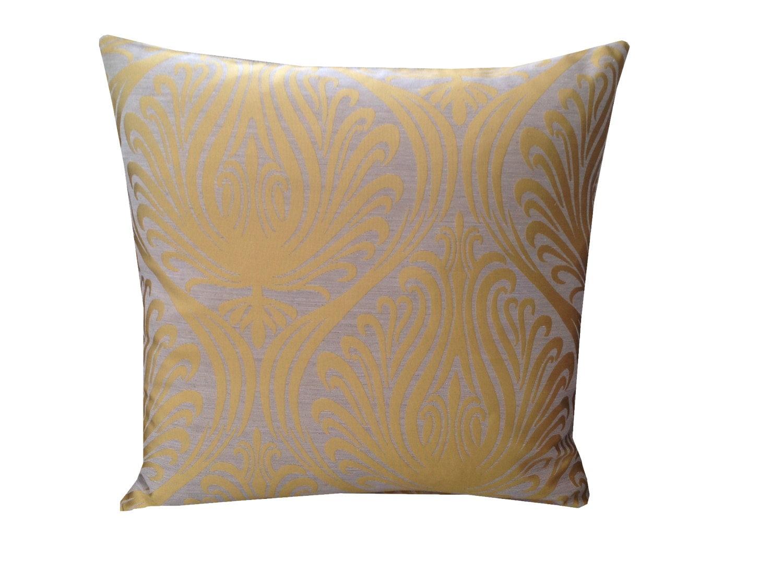 Stunning Gold Cream  Mustard classic damask design hand made cushion cover pillow case made from faux silk fabric homesofaloungekitchen
