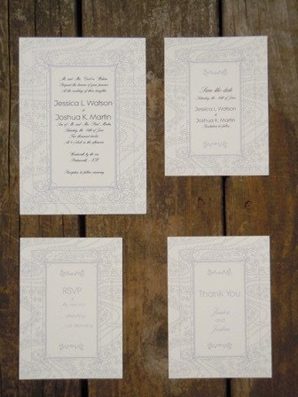 Navy and Lavendar Wedding Invitation Suite Set of 20