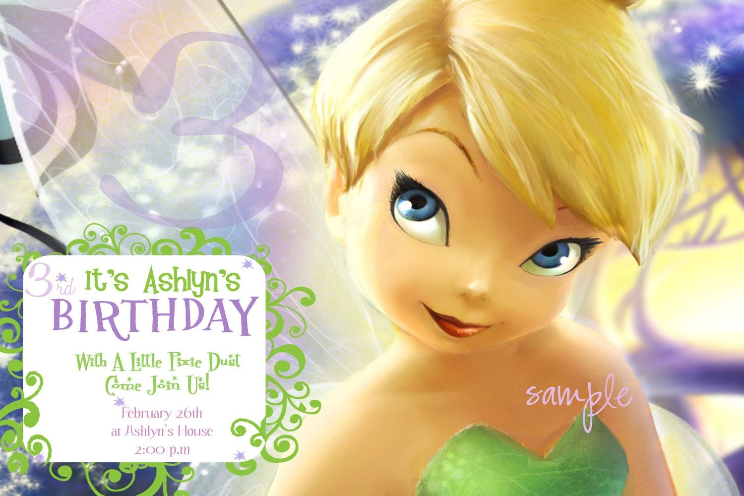 Pixie Dust Tinkerbell Birthday Party Invitation Birthday Announcement