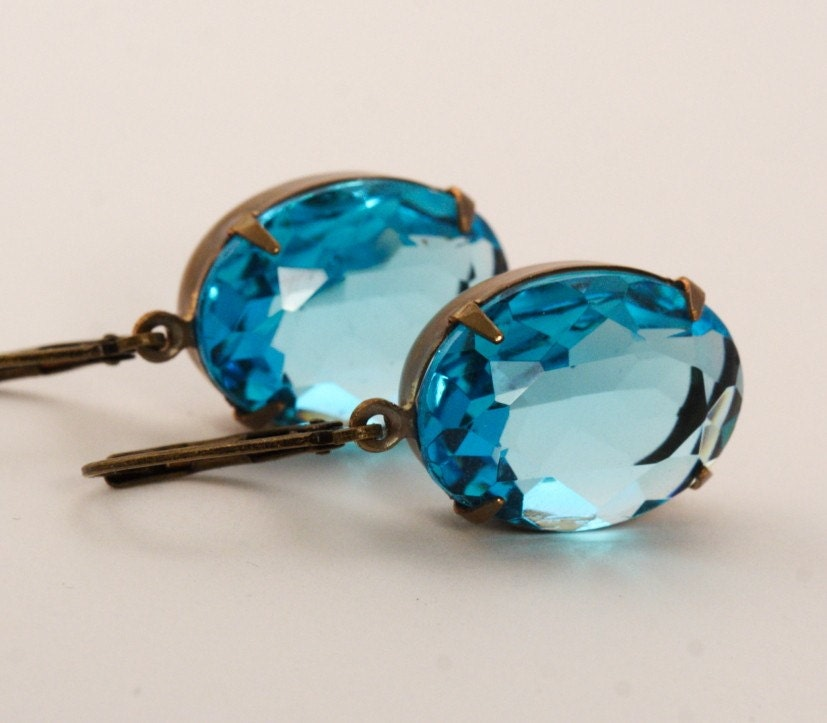 Vintage Glass Jewel Earrings - Blue Turquoise