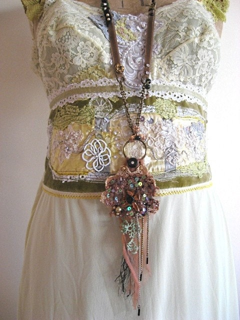 Dreamer Necklace - vintage antique Lace Beaded Chains on brown velvet with crystals and flowers