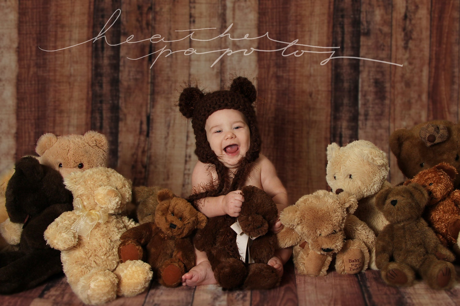 NEW -- Chocolate Fuzzy Eared Teddy Bear hat with braided tassels -- Newborn