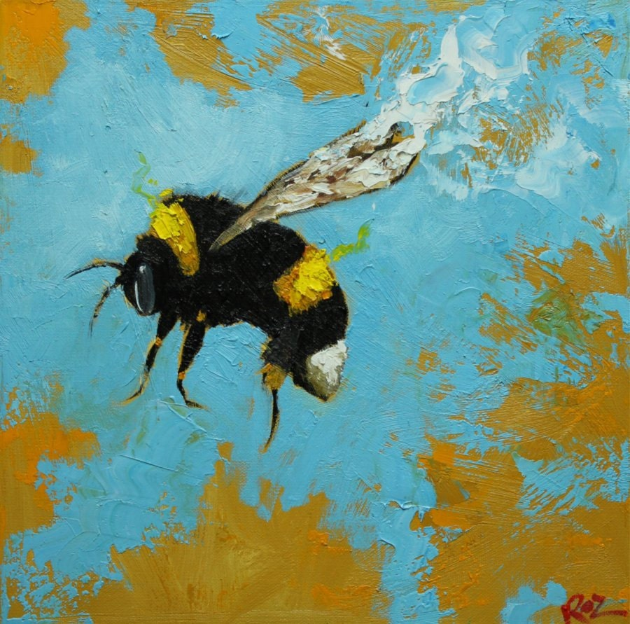 Bee Painting 197 12x12 Inch Original Oil Painting By Roz