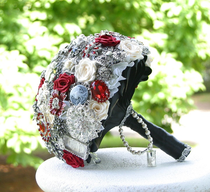 Red, Black and White Wedding Brooch Bouquet. DEPOSIT on made to order Heirloom Bridal Broach Bouquet.