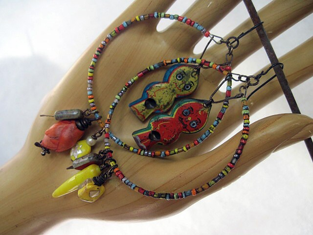 Sugar Candy Kingdom. Antique Whistle Toys in Bright Colorful Hoops.