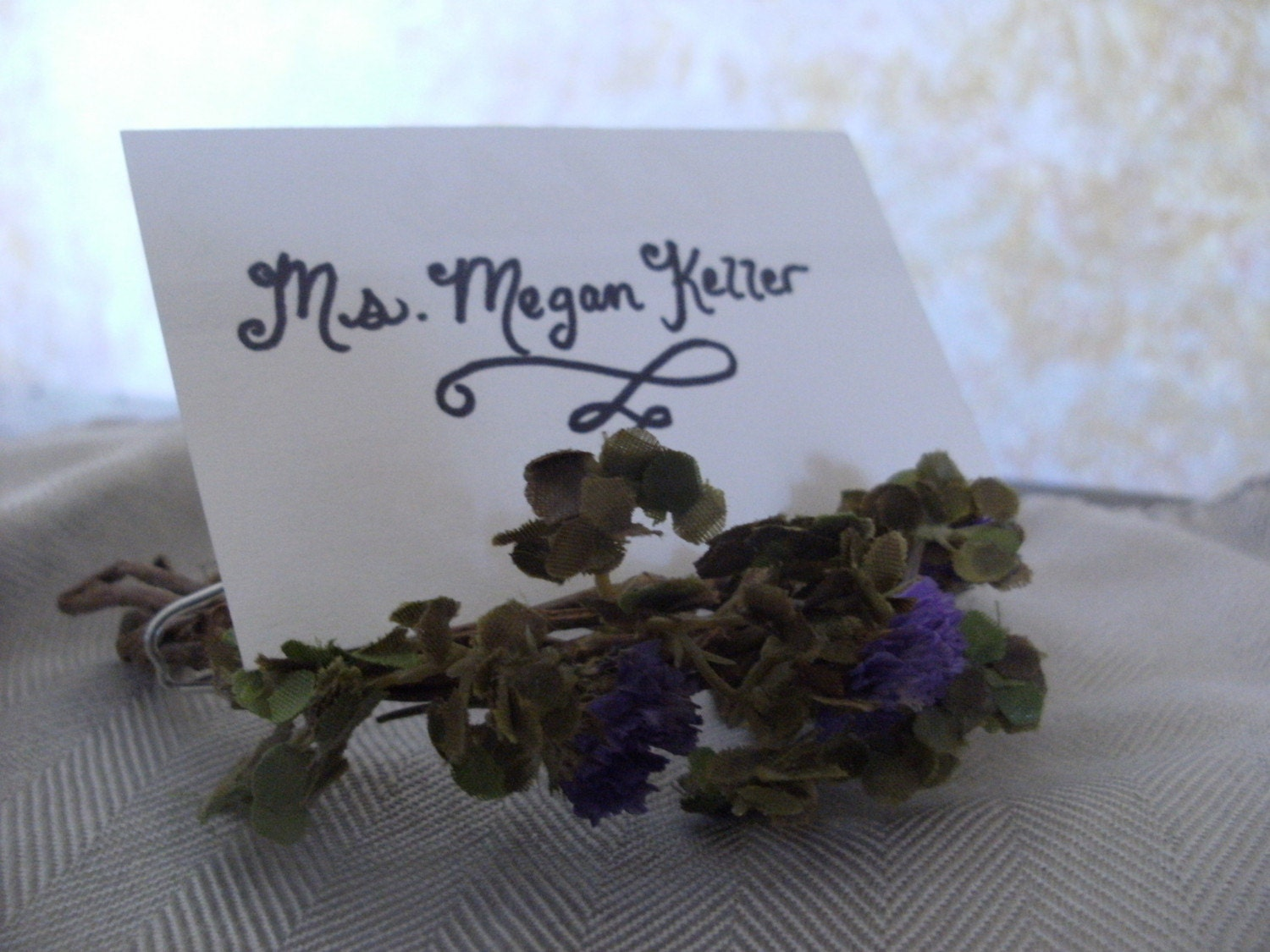Place Card Holder Wreath with Dried Flowers