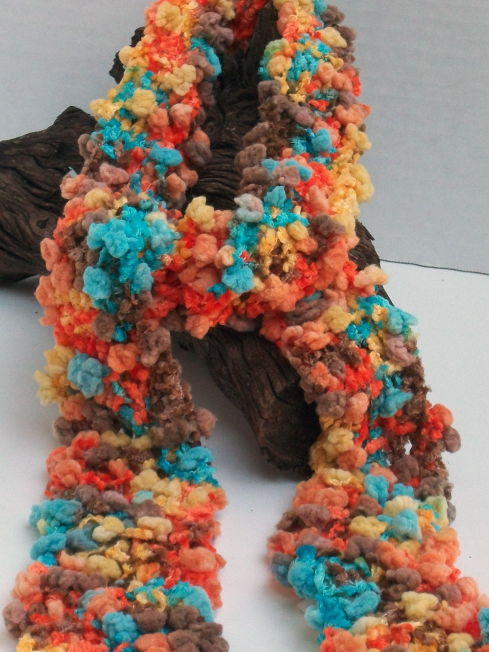 Fall Multi Color Hand Knitted Fashion Yarn Scarves
