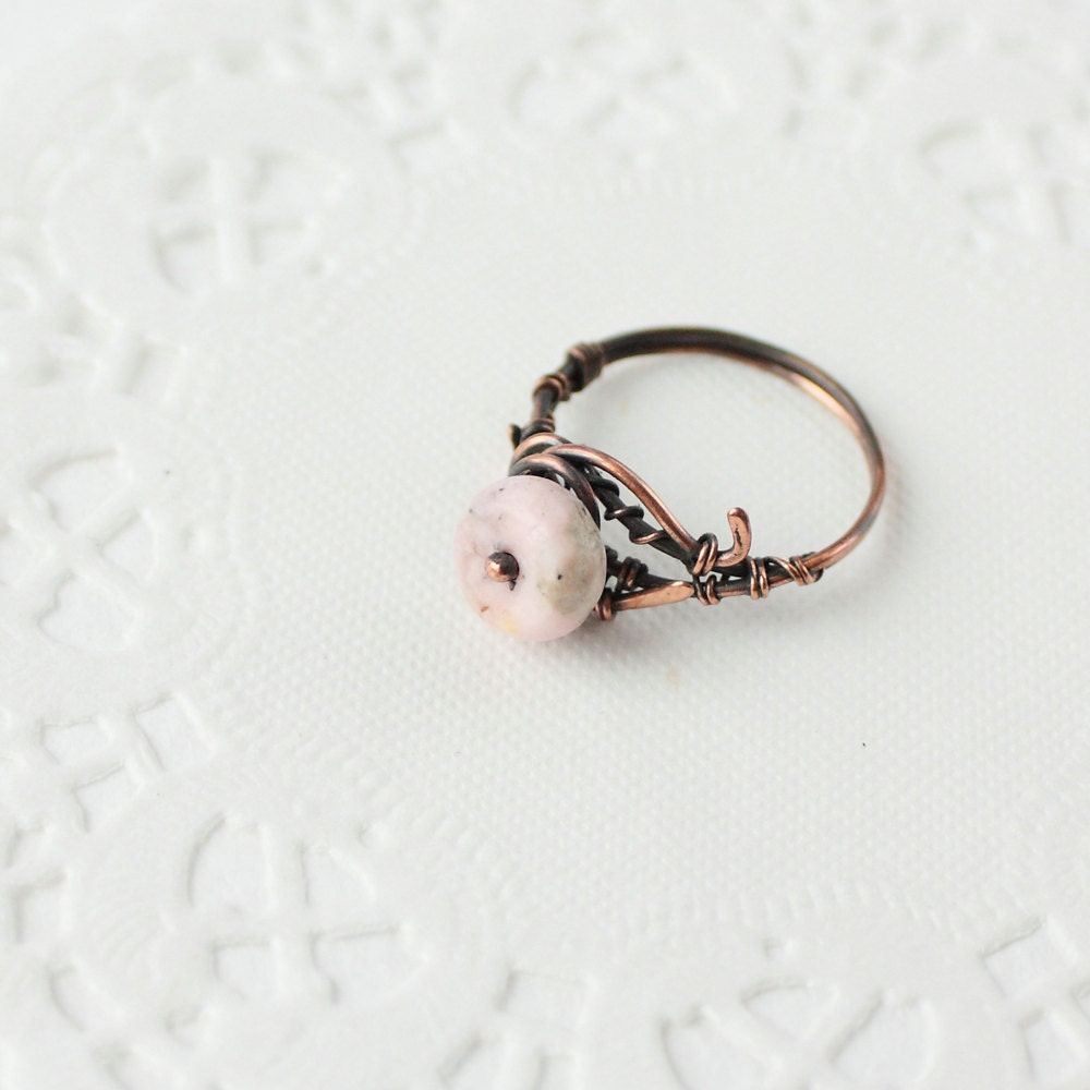 Copper ring with rhodochrosite bead - wirefoxjewellery
