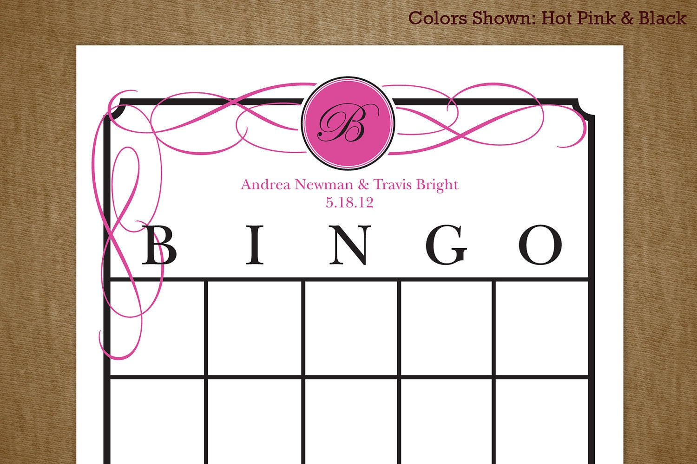 Bridal Shower Printable Bingo Game Card by jackaroodesigningco