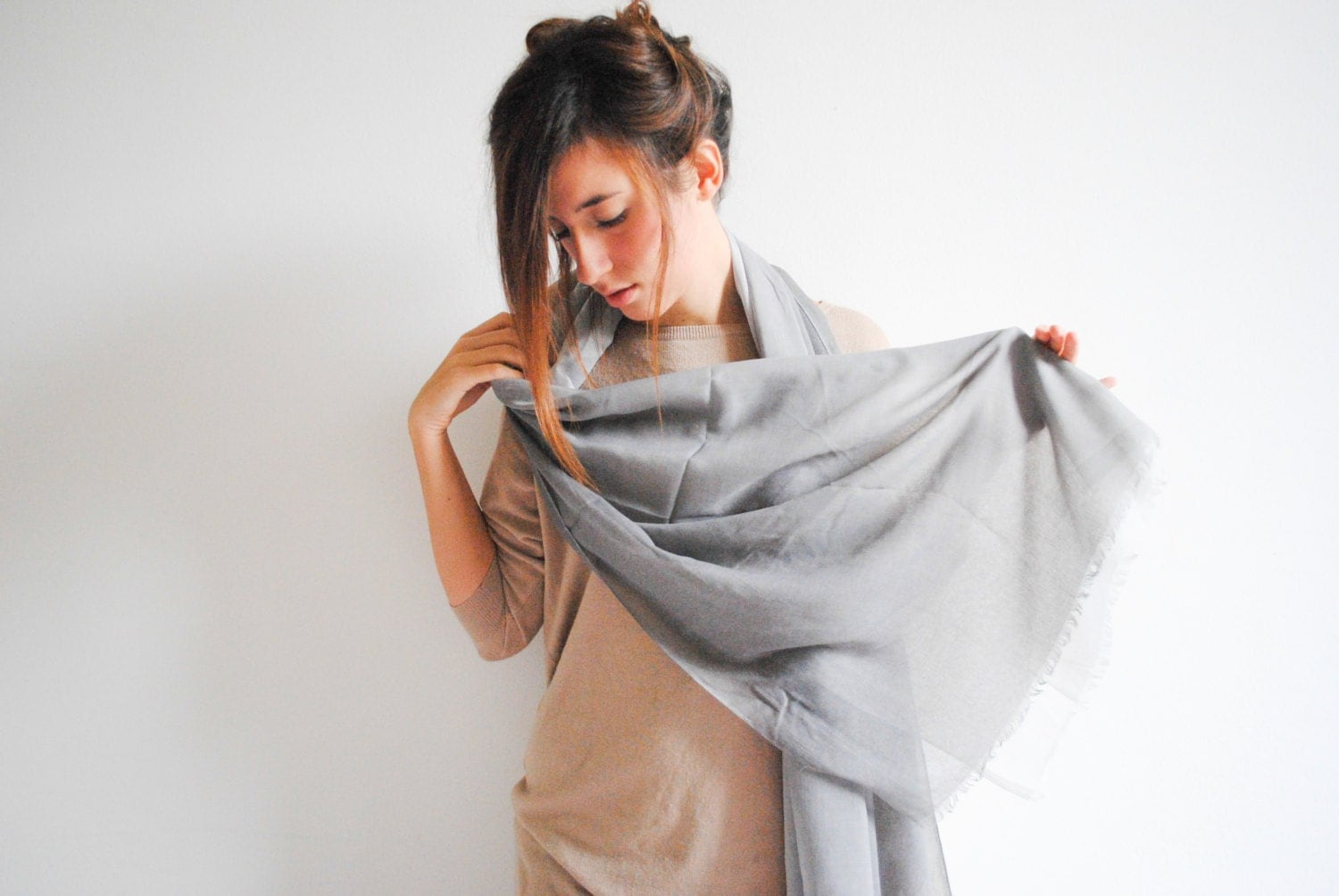 Gray Cotton Scarf - Women's Fashion Accessories - Women Scarves - Fall women scarf - Long Neck Scarf - NadjasMovingCastle